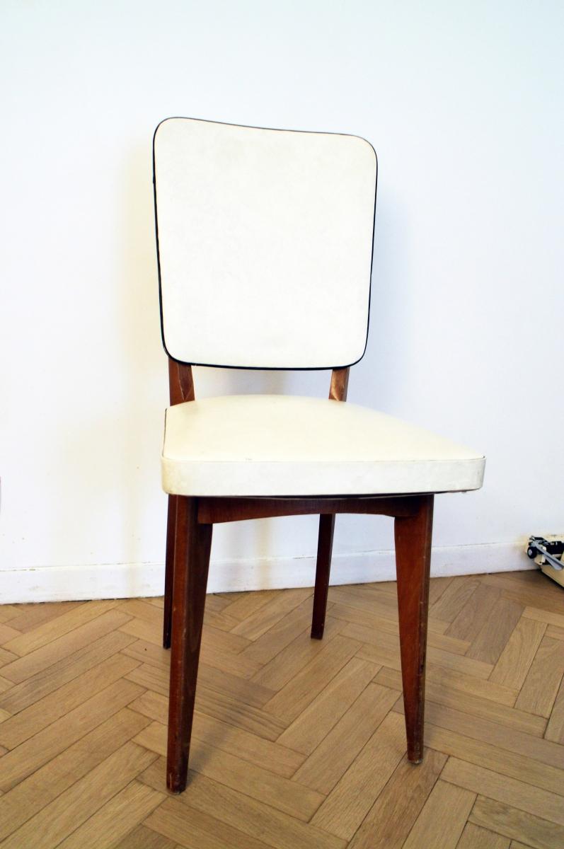 Chaise vintage scandinave blanche et bois pas cher – Luckyfind