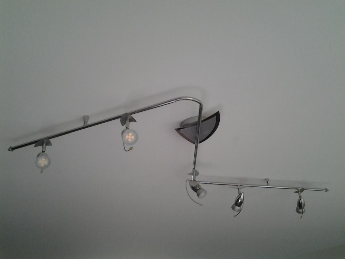 Luminaire rail 5 spot led plafonnier totalement orientable