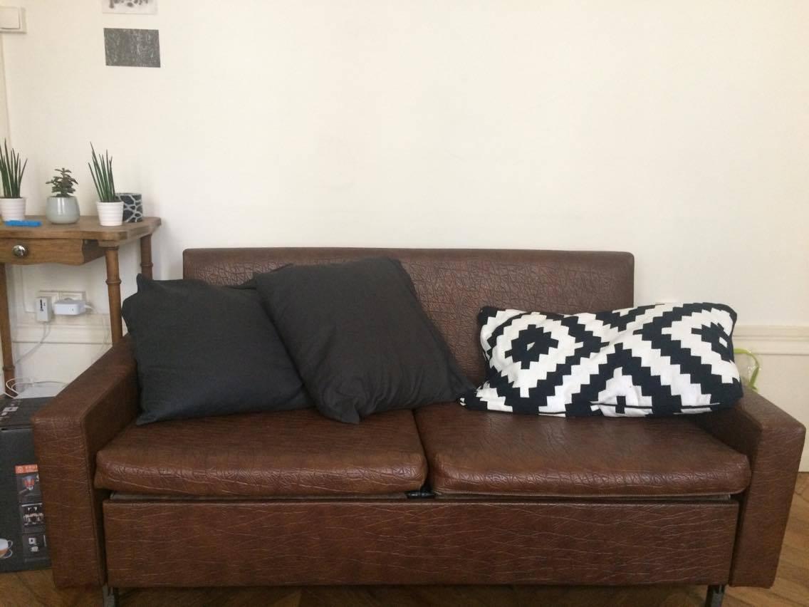 canap r tro cuir marron luckyfind. Black Bedroom Furniture Sets. Home Design Ideas