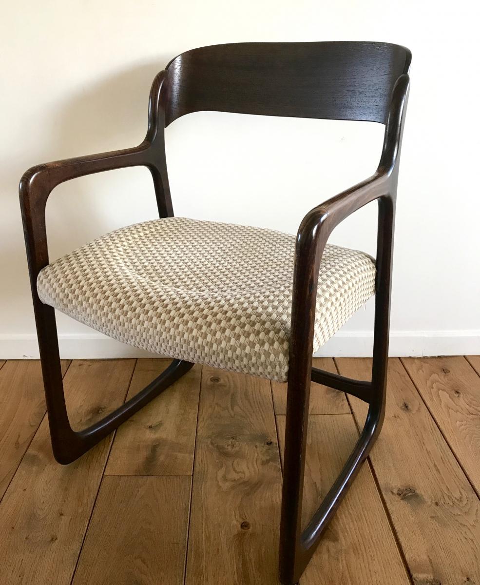 fauteuil traineau ann es 60 baumann luckyfind. Black Bedroom Furniture Sets. Home Design Ideas