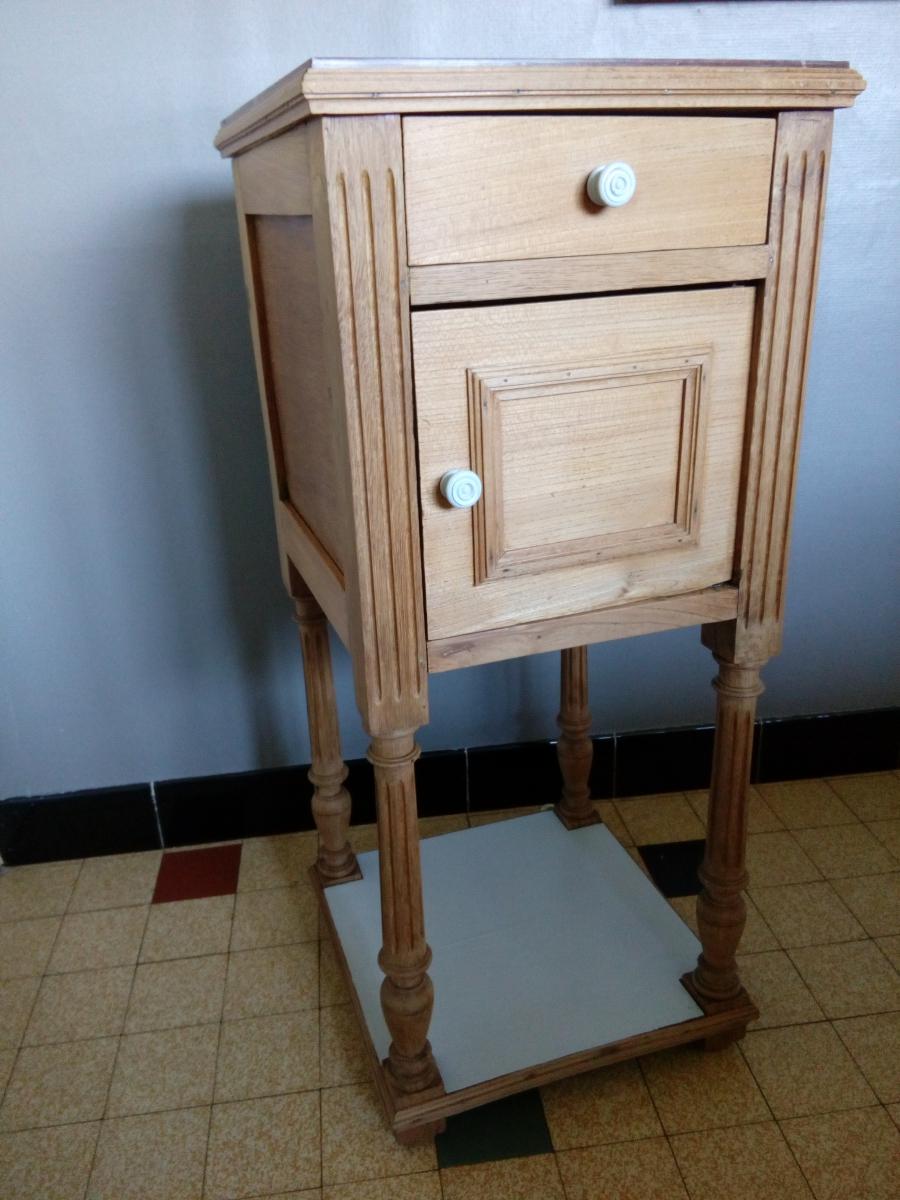 Table de chevet en bois et marbre table de nuit peine - Table de chevet marbre ...