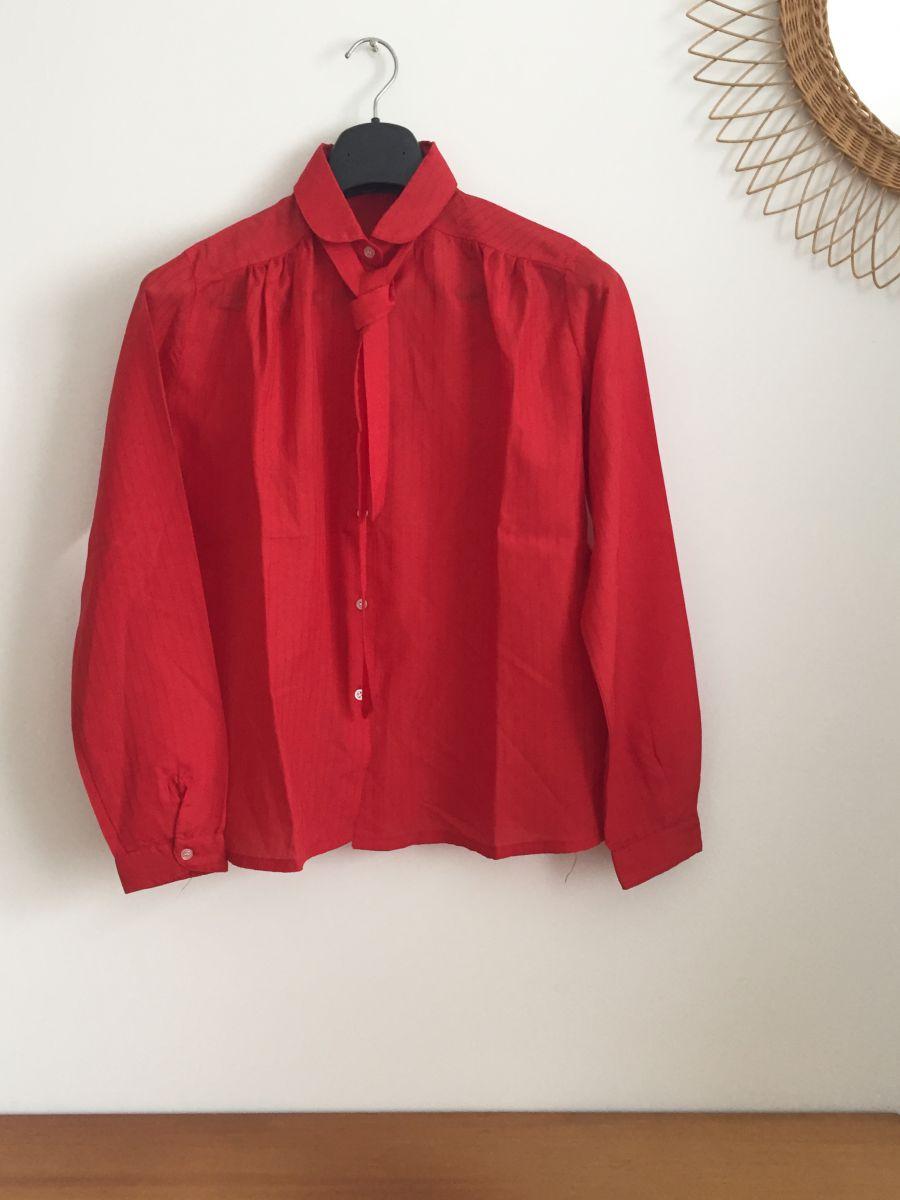 chemise vintage rouge col claudine ann es 70 luckyfind. Black Bedroom Furniture Sets. Home Design Ideas