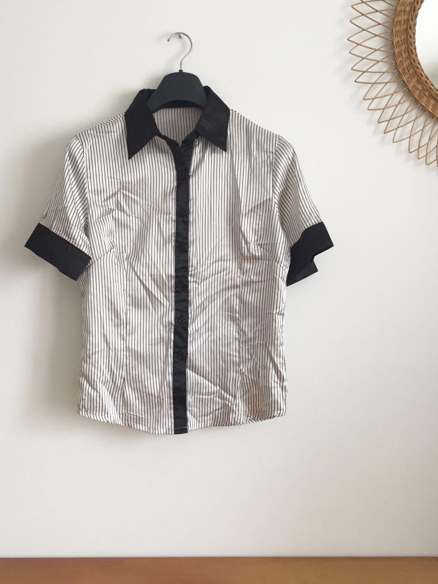 chemise vintage ann es 70 rayures noires luckyfind. Black Bedroom Furniture Sets. Home Design Ideas