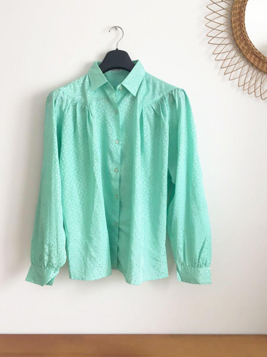 chemise vintage vert mint ann es 70 luckyfind. Black Bedroom Furniture Sets. Home Design Ideas