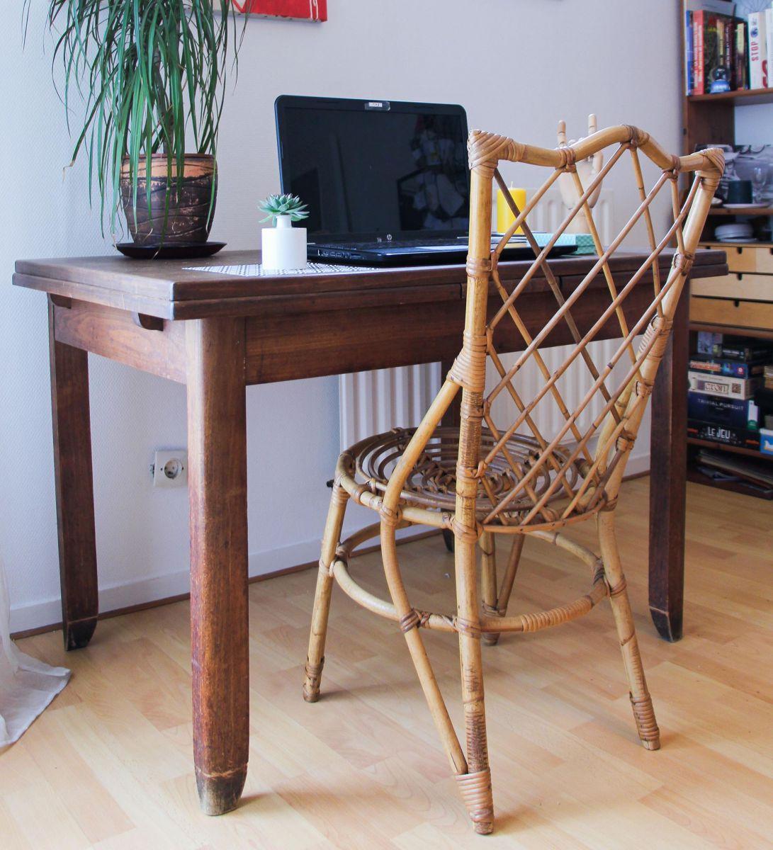 chaise en rotin vintage ann es 60 luckyfind. Black Bedroom Furniture Sets. Home Design Ideas