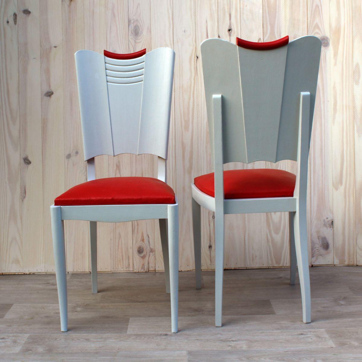 l a et lou paire de chaise vintage en ch ne massif assise ska rouge luckyfind. Black Bedroom Furniture Sets. Home Design Ideas