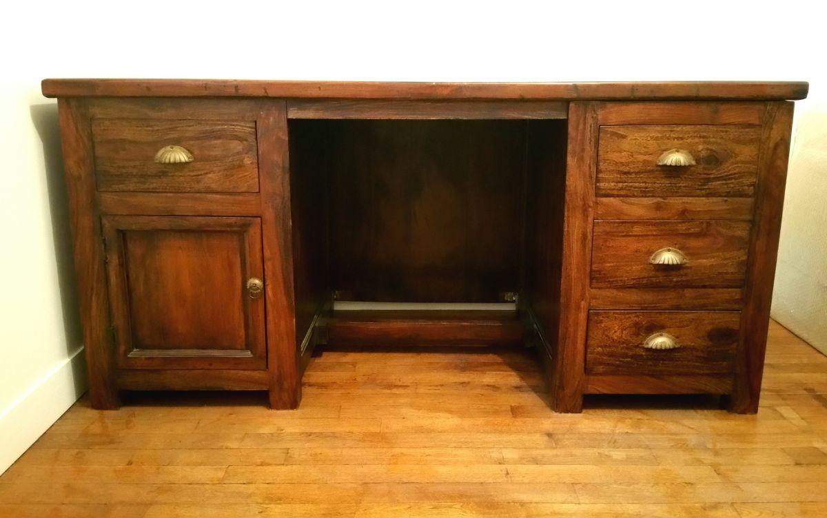 bureau et sa chaise en teck massif luckyfind. Black Bedroom Furniture Sets. Home Design Ideas