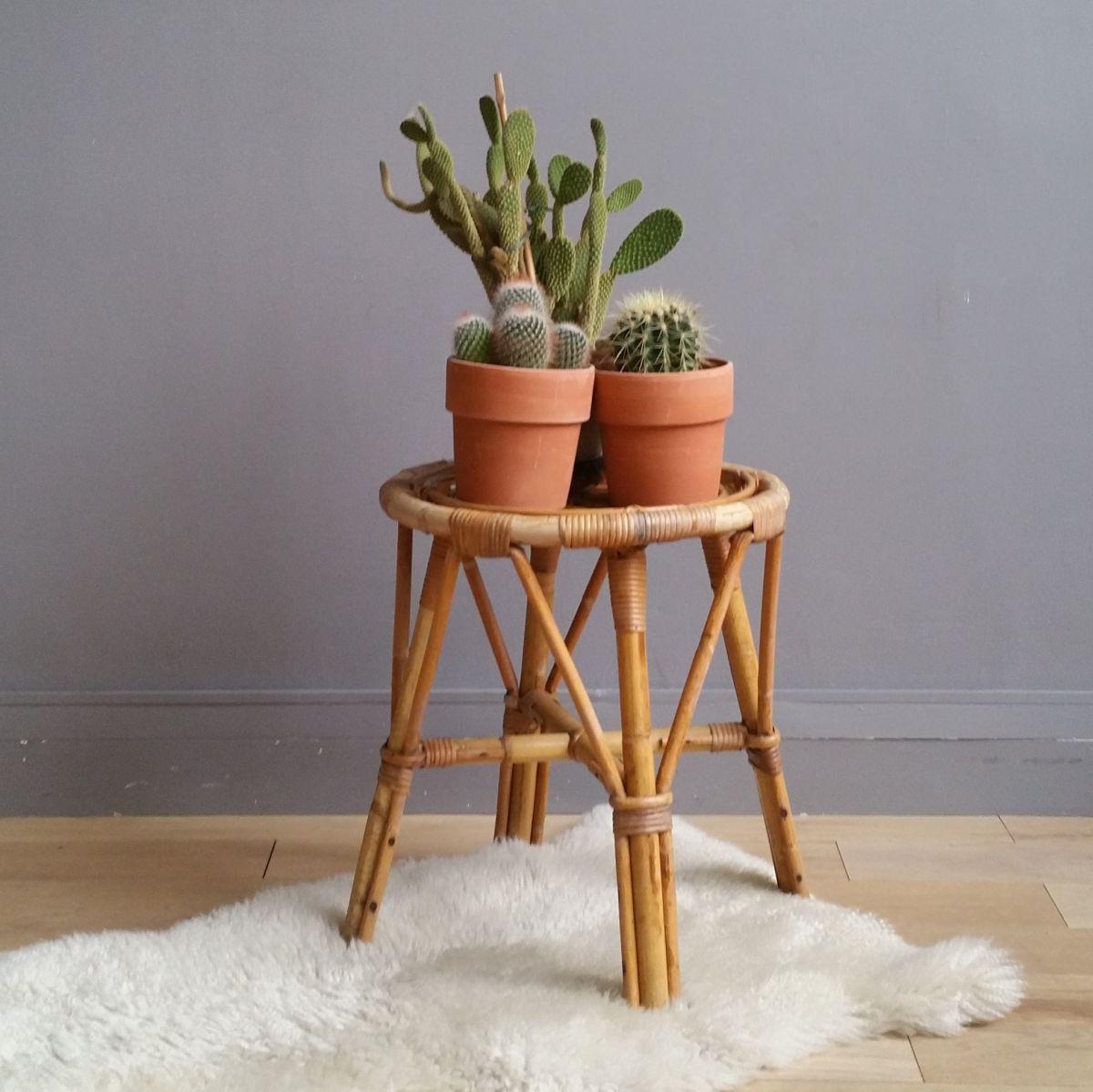 tabouret rotin vintage actives luckyfind. Black Bedroom Furniture Sets. Home Design Ideas