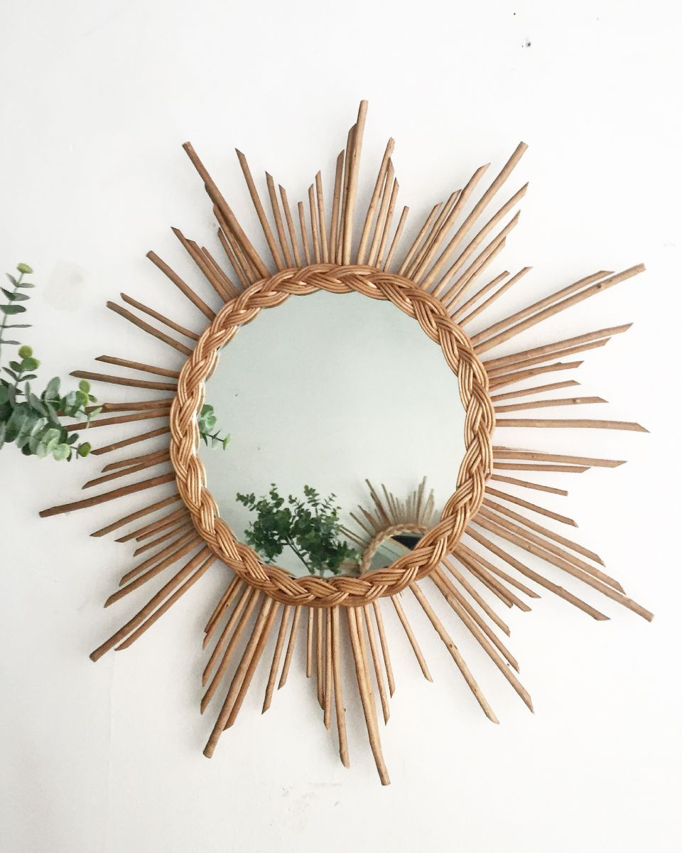 Miroir en rotin vintage luckyfind for Miroir en rotin