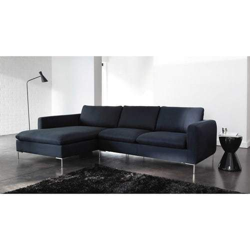 canap d 39 angle gauche 5 places en tissu bleu nuit luckyfind. Black Bedroom Furniture Sets. Home Design Ideas