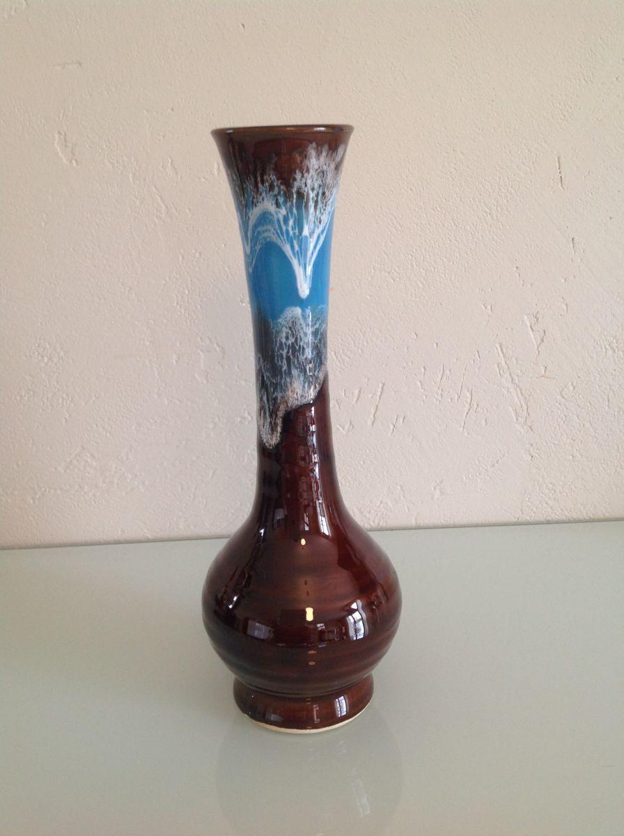 vase vintage soliflore marron et bleu luckyfind. Black Bedroom Furniture Sets. Home Design Ideas