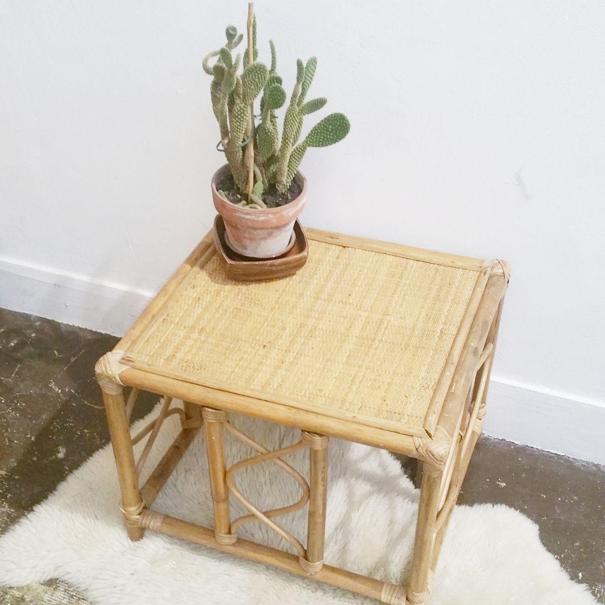 table basse rotin vintage luckyfind. Black Bedroom Furniture Sets. Home Design Ideas