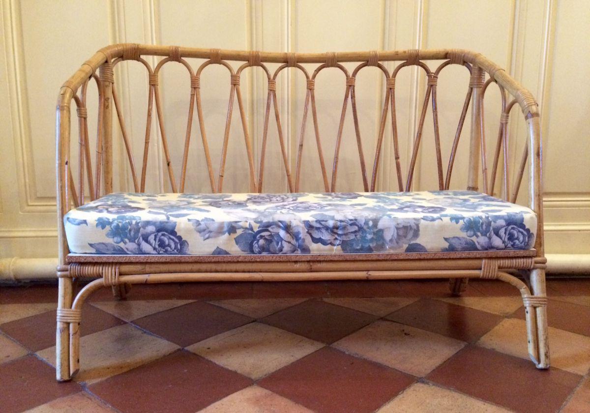 banquette pour enfant en rotin vintage luckyfind. Black Bedroom Furniture Sets. Home Design Ideas