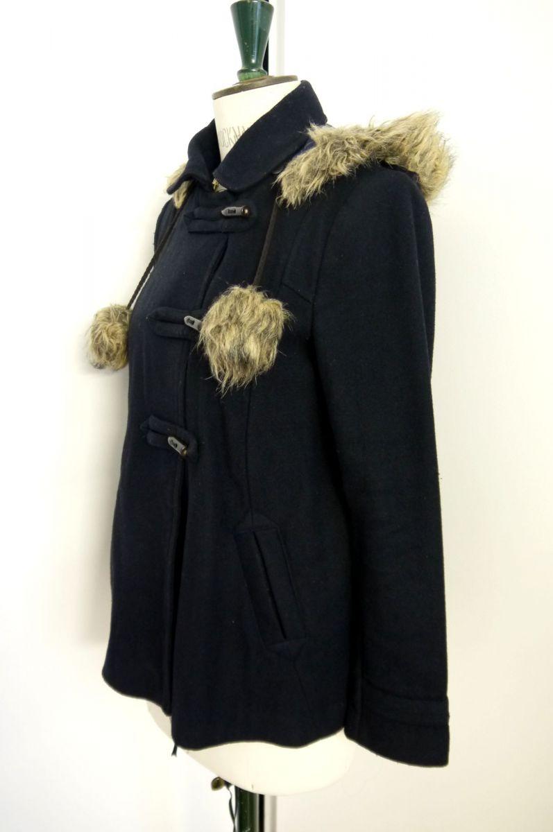 duffle coat manteau court promod pompon bleu fausse fourrure capuche luckyfind. Black Bedroom Furniture Sets. Home Design Ideas