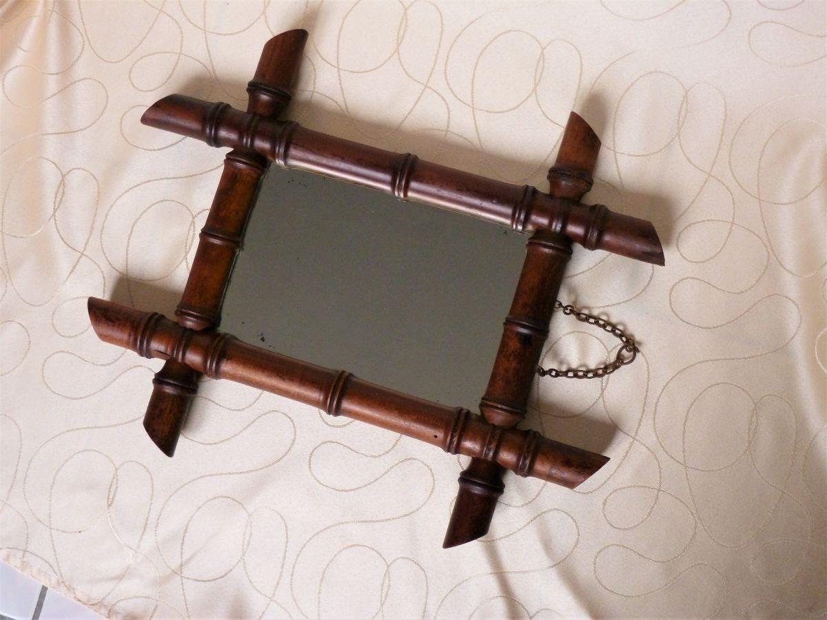 Ancien miroir bambou luckyfind for Miroir de poche ancien