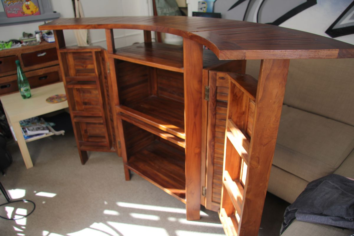 Bar en teck massif d pliant meuble d ext rieur luckyfind for Meuble bar exterieur teck