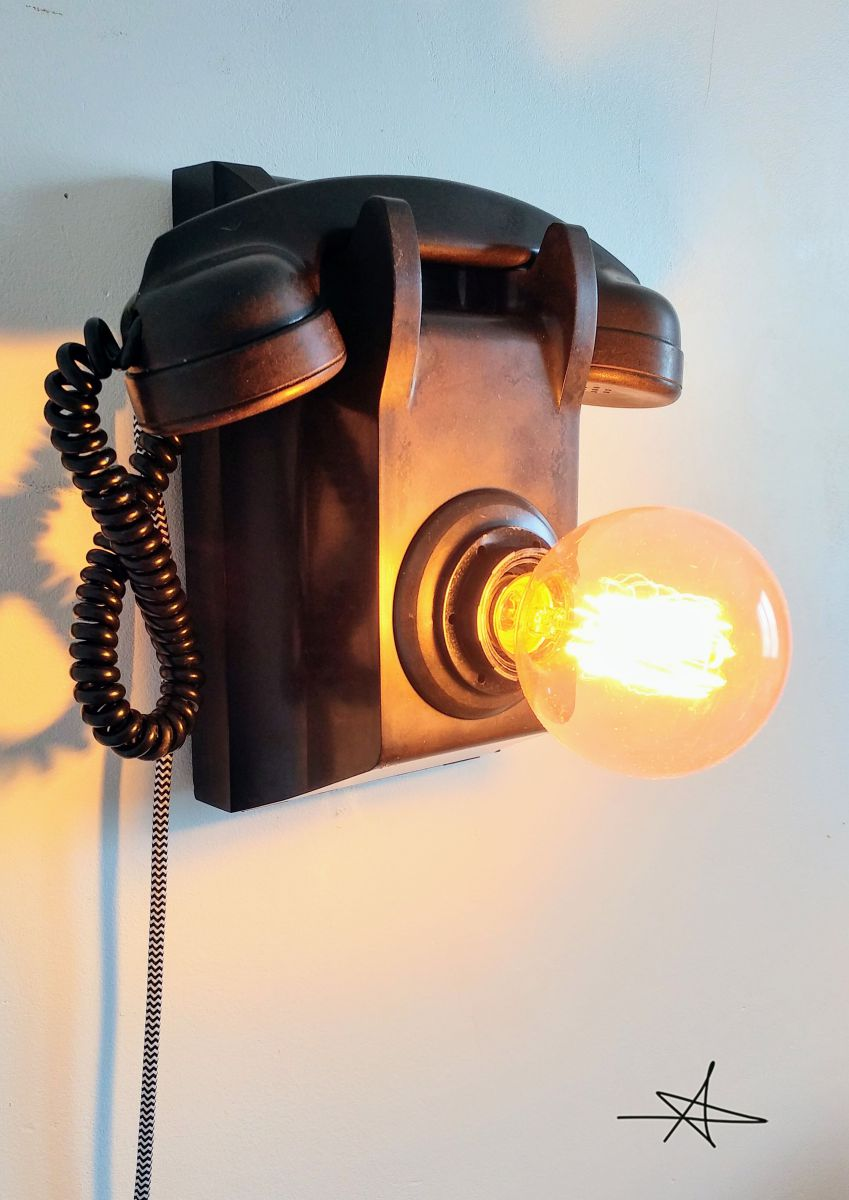 lampe murale industrielle applique vintage black phone. Black Bedroom Furniture Sets. Home Design Ideas