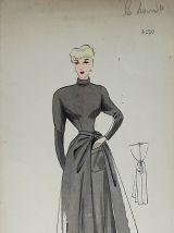 Croquis Mode 1950 série de robes Beige/Brun