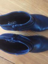 Bottines cuir bleu foncé - petit talon