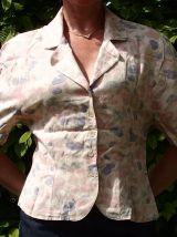 Chemisier-veste vintage T36 saumon pâle imprimé