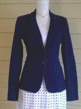 Impeccable jupe vintage Marcelle Griffon taille haute plis permanents T38-40 blanche à pois marine