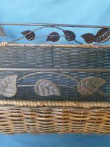 porte  buche  ancien vintage en métal/osier