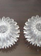 Lot de 2 petits bougeoirs 70's, plexiglas transparent , oursins