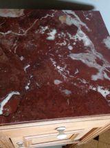 Table de chevet en bois et marbre, table de nuit, à peine revisitée, relookée, recyclage