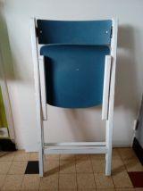 Chaise pliante vintage, rétro, chaise d'appoint en bois, bleu et blanc
