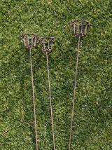 3 piques porte-bougie en fer forgé pour jardin