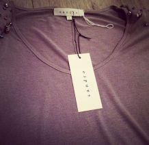 T-shirt Sandro gris cristaux 36