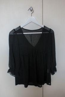 Blouse noire transparente Naf Naf