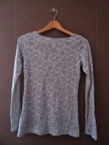 Haut manches longues gris - motif floral - H&M