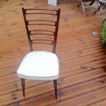 Chaise vintage pas cher blanche et bois