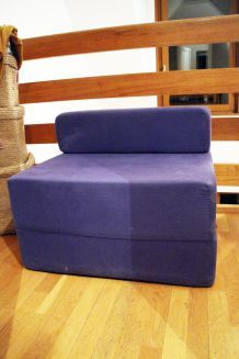 Fauteuil chauffeuse couchage 1 place bleu