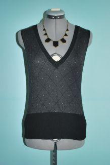 Pull over sans manches noir et blanc à motifs géométriques H&M