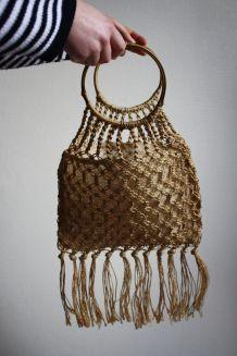 sac à main en macramé et bambou