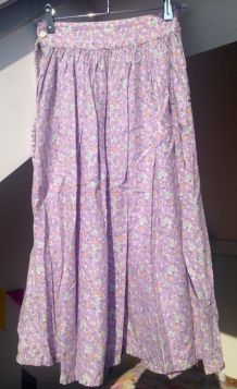 Jupe longue vintage en coton tons violets