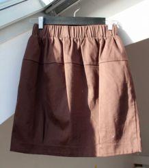 Mini jupe boule en coton brun