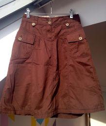Jupe style cargo en coton brun