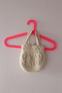 Petit sac / pochon vintage en laine écru