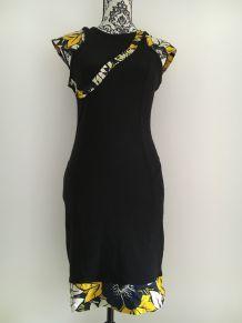 Robe moulante Pimkie customisée avec pagne africain