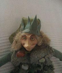 Poupée Elfe Chiffon et céramique