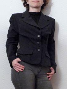 Veste cintrée Courte noire à fines rayures - Renatto Bene