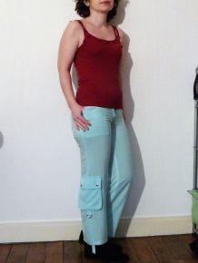 Pantacourt En Coton Léger Bleu Turquoise - Neuf- Wenbier Vogue