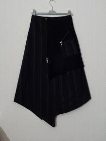 Jupe Originale Asymétrique en laine bouillie noir