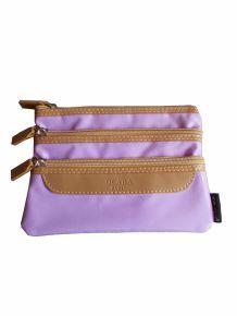 Pochette violet et marron à 3 compartiments- Ocaba Paris