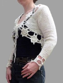 Gilet / Bolero en 100% coton Blanc- Taille M / L - My Collection Design