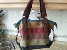 Les femmes les sacs à main de toile de rayure décontractés micro-fibric les sacs à bandoulière de cuir mettent en contraste des sacs de crossbody en couleur