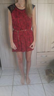 Robe leopard dentelle rouge noir